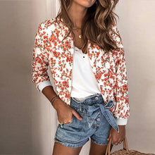 Load image into Gallery viewer, Jacket Women 2019 Autumn Long Sleeve Vintage Floral Coat Women Casual O Neck Zipper Bomber Jackets Ladies Outwear Veste Femme