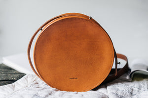 "Round Leather Bag ""Sol"""