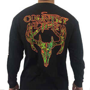 Camo Skull Long Sleeve - Black/Orange
