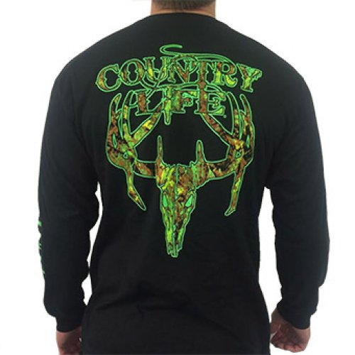 Camo Skull Long Sleeve - Black/Green