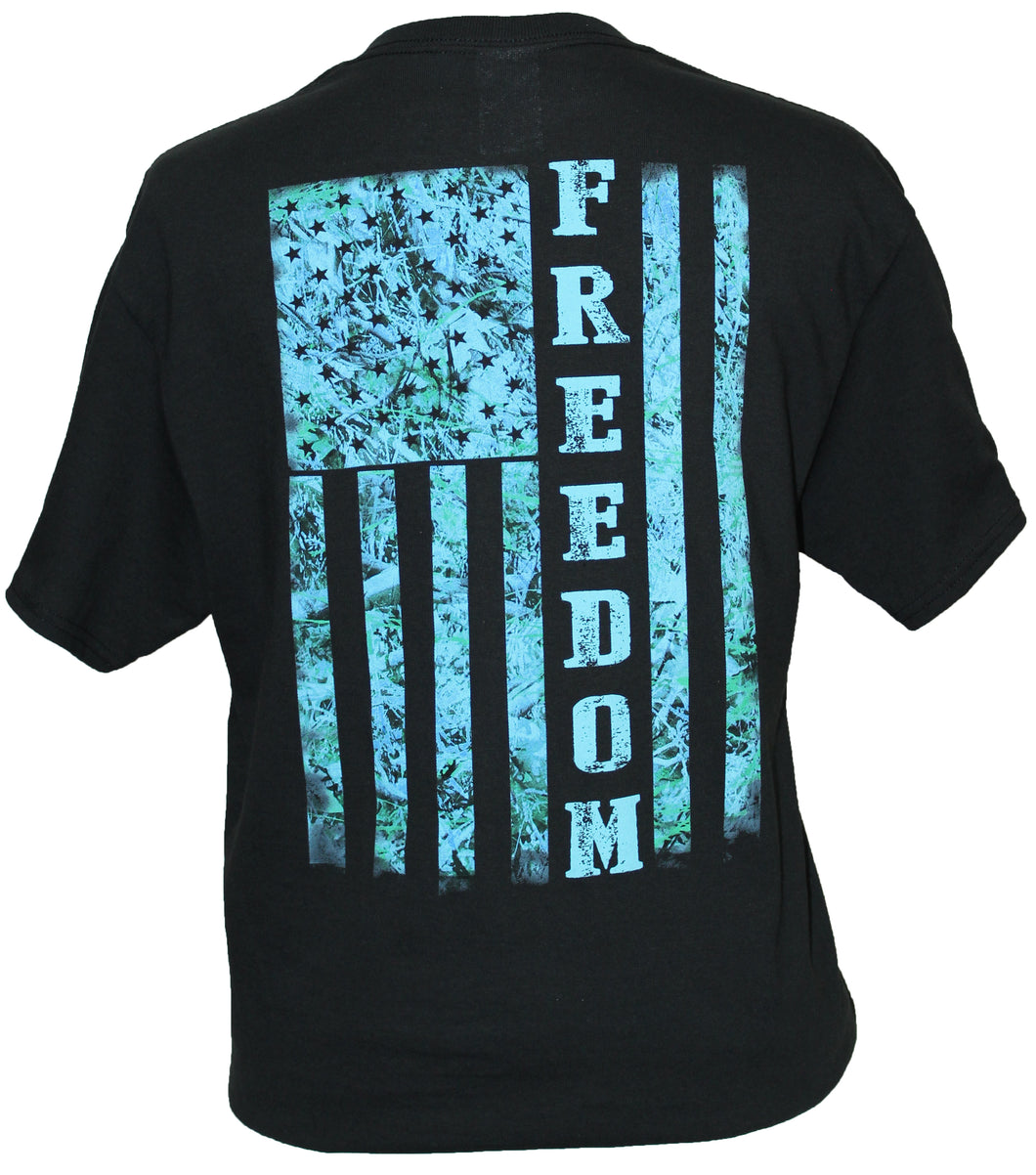 Blue Camo Freedom Flag - Black