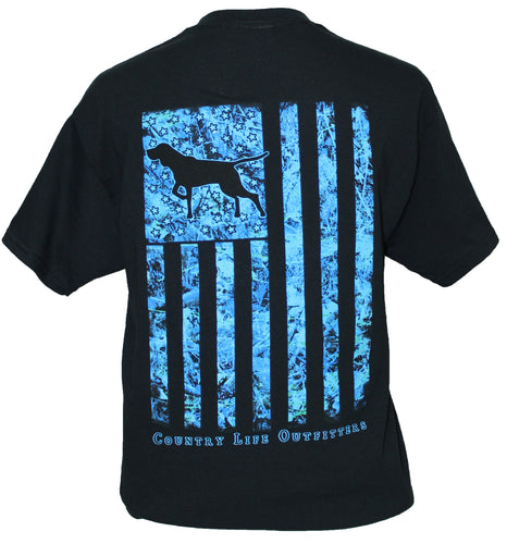 Blue Camo Dog Flag - Black