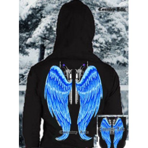 Country Life Wings Hoodie - Black/Blue