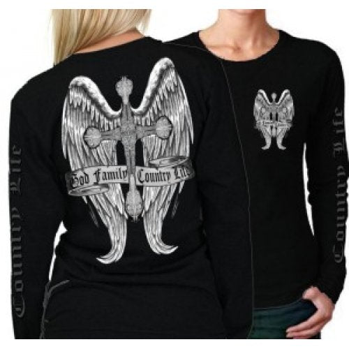Cross and Wings - Black