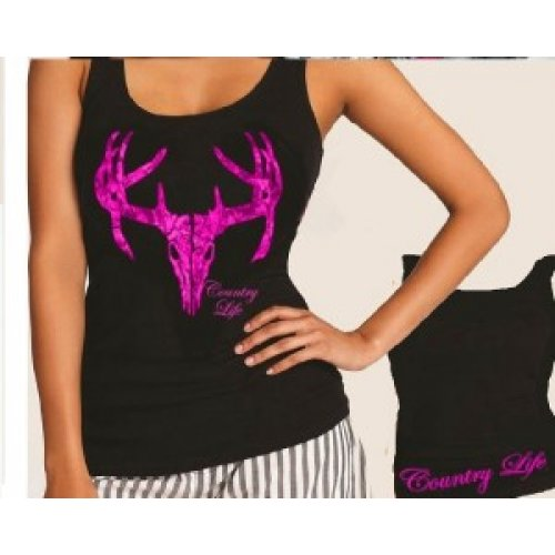 Girlie Skull Fitted Tank - Black/Pink