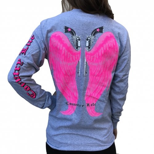 Country Life Wings - Gray/Pink