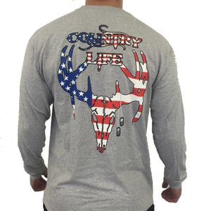 Patriotic USA Long Sleeve - Grey