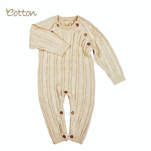 organic cotton baby romper cableknit warm sweater
