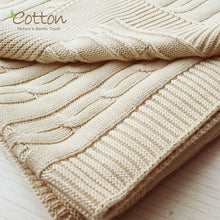 Load image into Gallery viewer, Organic Cotton & Nature Colored Cotton Baby Soft Cableknit Blanket in Gift Package