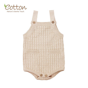 Organic Natural Colored Cotton Cableknit Strap Bodysuit