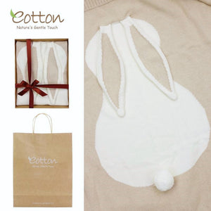 Organic Cotton & Nature Colored Cotton Baby Soft Cableknit Blanket in Gift Package