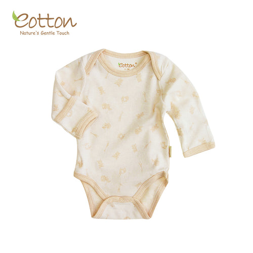 Organic Cotton Baby long sleeve bodysuit, jacquard interlock baby onesies soft touch baby skin, No chemical dyeing process