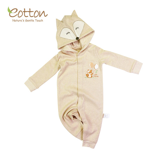 certified organic cotton baby hoodie romper with cute application embroidery