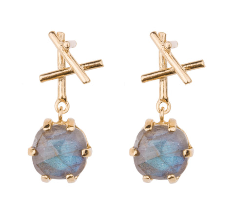 Sticks with Cushion Cut Stone Dangle Earring
