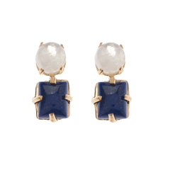 Moonstone & Lapis Cabochon Earrings