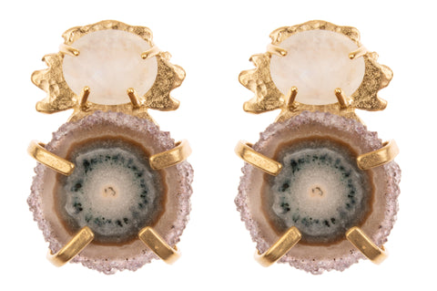 Kleck with Faceted Stone and Stalactite Drusy Slice -LIMITED