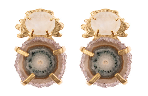 Stalactite Slice and Kleck with Faceted Stone Earrings