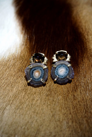 Stalactite Slice and Kleck with Faceted Stone Earring