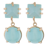Faceted Square & Cabachon Earring