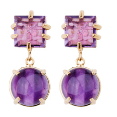Faceted Square & Cabachon Amethyst Earring