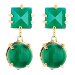 Faceted Square & Cabachon Green Onyx Earring