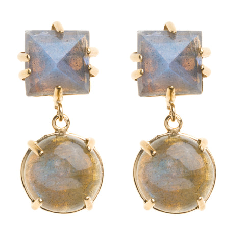 Faceted Square & Cabachon Blue Chalcedony Earring
