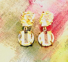 Faceted Square & Cabachon Rock Crystal Earring