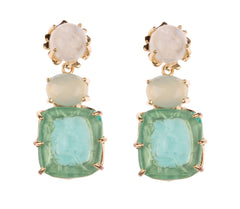 Bacchus Earring - Kleck with Moonston Cabochon, Aqua Chalcedony Faceted Stone, and Turquoise Bacchus Intaglio