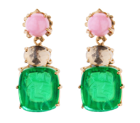 Bacchus Earring - Kleck with Pink Opal Cabochon, Faceted Rock Crystal, and Emerald Green Bacchus Intaglio