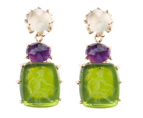 Bacchus Earring - Kleck with Prehnite Cabochon, Faceted Amethyst, and Citrus Green Bacchus Intaglio