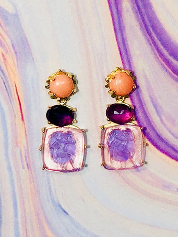 Bacchus Earring - Kleck with Pink Coral Cabochon, Faceted Amethyst, and Lavender Bacchus Intaglio