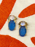 Kleck with French Blue Intaglio and Rainbow Moonstone Cabochon