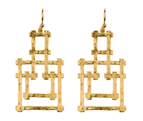 Bamboo Pagoda Dangle Earrings