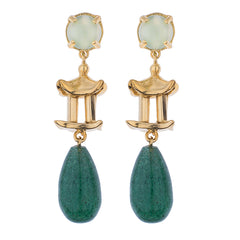 Pagoda Drop Earring- Green Chalcedony Cabochon & Dark Green Quarz Drop