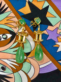 Pagoda Drop Earring- Green Chalcedony Cabochon & Green Quartz Drop
