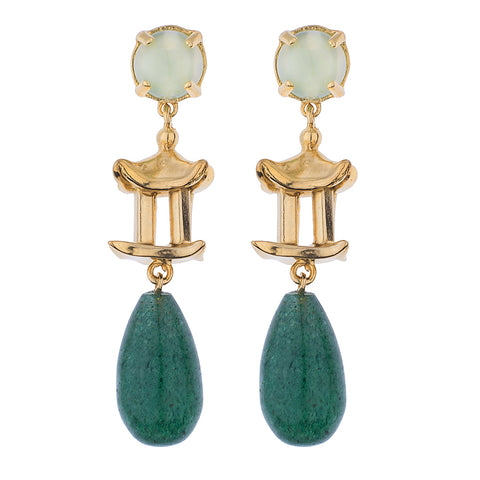 Pagoda Drop Earring- Blue Chalcedony Cabochon & Lapis Drop