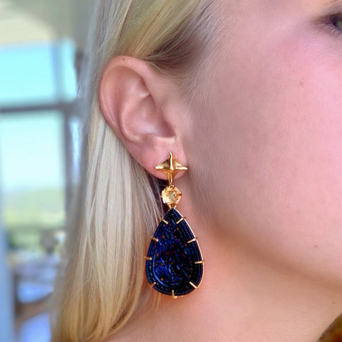 Pagoda Pyramid & Carved Teardrop Earring