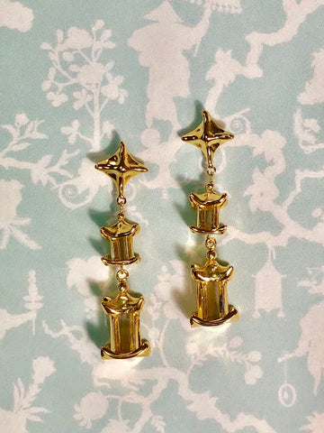 Double Pagoda Drop Earring