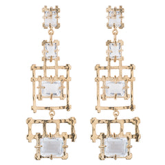 Bamboo Rock Crystal Chandelier Earrings