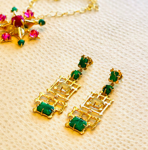 Bamboo w/Emerald and Rock Crystal Chandelier Earrings