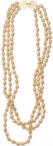 Klecks Clasp Three Strand Gold Trade Bead Necklace