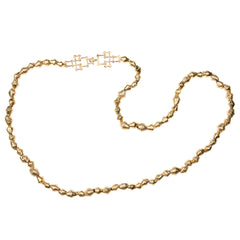 Gold Cameroon Beads with Bamboo Clasp Necklace