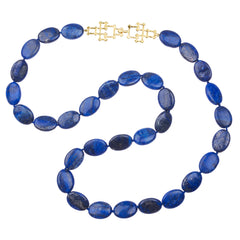 Knotted Lapis Necklace with Bamboo Clasp