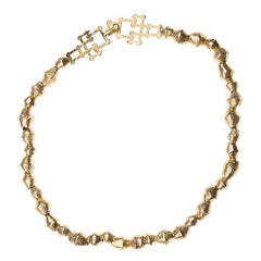 "Gold Cameroon 18"" Bead Necklace with Bamboo Clasp"