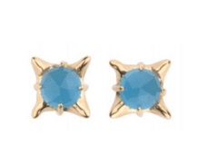 Small Pagoda Pyramid Stud with Faceted Blue Chalcedony