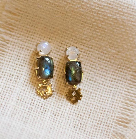 Small Klecks with Moonstone & Labradorite Earring