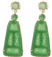"""Train"" Earring - Kleck with Green Chalcedony, Green Agate and carved Green Agate"