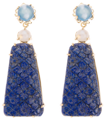 """Train"" Earring - Kleck with Blue Chalcedony, Moonstone and Carved Lapis"