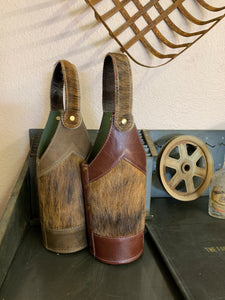 Cowhide/Leather Whiskey Bottle Holder