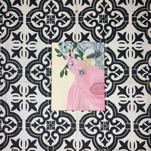 Floral Pig Canvas Art